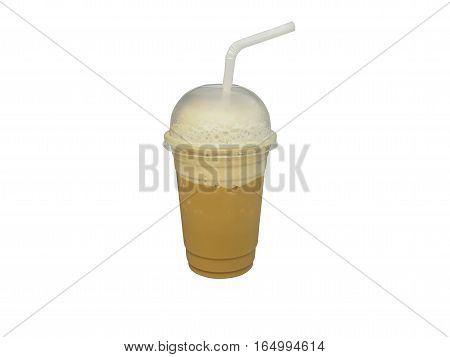 Frappe coffee in plastic glass isolated on white background.