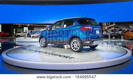 DETROIT MI/USA - JANUARY 10 2017: A 2018 Ford EcoSport SUV at the North American International Auto Show (NAIAS).