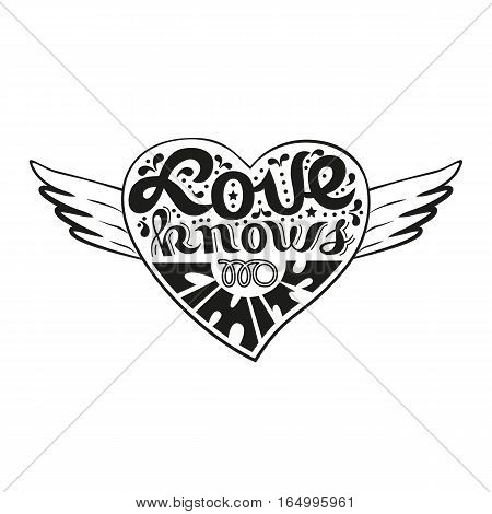 Romantic love icon. Inspirational quote in heart with wings. Freehand fancy cartoon hand lettering. Vector vintage letter concept. Handwriting saying Valentine day symbol, weeding banner background