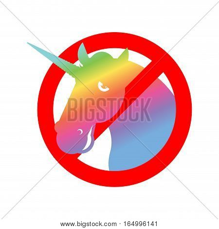 Stop Unicorn. Ban Lgbt Red Road Sign. Prohibited Gay