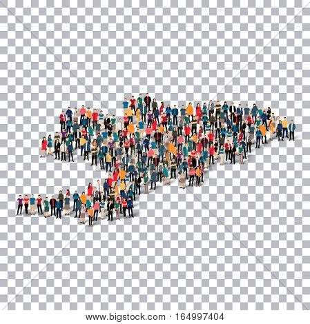 Isometric set of styles, people, map of Kyrgyzstan , country, web infographics concept of crowded space, flat 3d. Crowd point group forming a predetermined shape. Creative people. Vector illustration. Photo vector.3D illustration. Transparent background .
