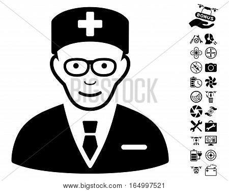 Head Physician icon with bonus copter tools icon set. Vector illustration style is flat iconic black symbols on white background.