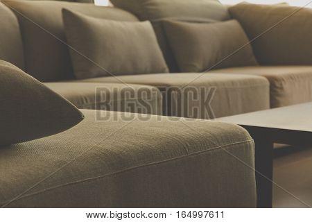 cushion on sofa,detail image of cushion on sofa, modern living room.