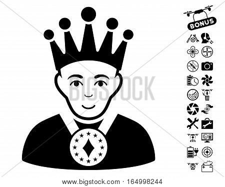 King icon with bonus drone service pictograms. Vector illustration style is flat iconic black symbols on white background.