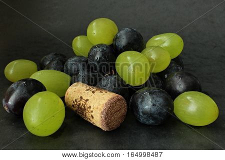 Decoration from  food for wine with cork.