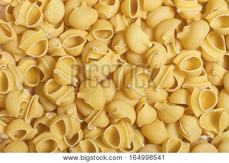 Background of raw italian pasta with pipe rigate