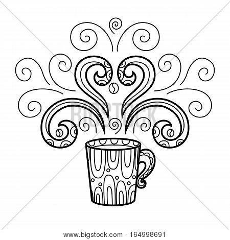 Coffee mug with abstract style pattern zentangle pattern. Hand drawn illustration coloring pages for adults. Vector illustration