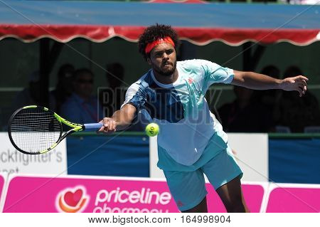 Melbourne Australia - January 11 2017: French Tennis player Jo-Wilfried Tsonga preparing for the Australian Open at the Kooyong Classic Exhibition tournament