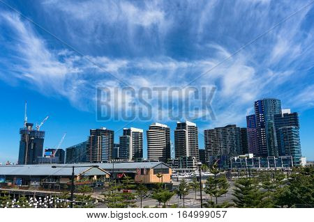 Melbourne Skyline, Cityscape As Viewed From Docklands