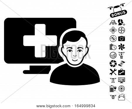 Online Medicine pictograph with bonus aircopter tools pictograms. Vector illustration style is flat iconic black symbols on white background.