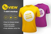 Men's white and black t-shirt with short sleeve mockup. Front view. Vector template. poster