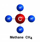 3d render of molecular structure of methane isolated over white background Atoms are represented as spheres with color and chemical symbol coding: hydrogen(H) - blue carbon(C) - red poster
