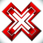 Red X letter X shape. Red cross icon for negative decline error concepts poster