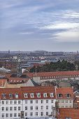 Cityscape of the city from the observation deck at the Round tower (Rundetaarn) in Copenhagen Denmark poster