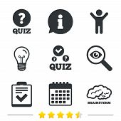 Quiz icons. Human brain think. Checklist with check mark symbol. Survey poll or questionnaire feedback form sign. Information, light bulb and calendar icons. Investigate magnifier. Vector poster