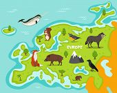 European map with wildlife animals vector illustration. European flora and fauna, squirrel, wolf, crow, fox, wild boar, vole, quail in cartoon style. European continent in blue ocean with wild animals. Cartoon animals collection. Different animals for zoo poster