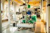 Modern boiler room equipment- high power boiler burner poster