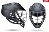 Black Lacrosse Helmet Set. Front and Side View. Sport goods and equipment. Vector Illustration isolated on white background. poster