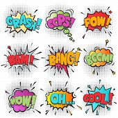 Comic bubble speech cartoon set isolated on white background vector illustration. Pop art bubble speech pow, oh, boom, bang, wow, bam, cool, crash, oops. Comic sound speech bubble in pop art style collection. Hand drawn bubble speech. Colorful bubble spee poster