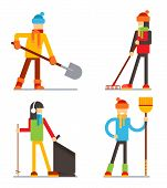 Seasonal spring summer cleaning snow leaves garbage clean tidy characters flat vector illustration poster
