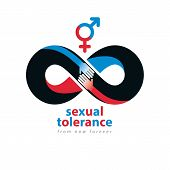 Sexual Tolerance hetero and homosexuals conceptual symbol Zero tolerance vector symbol created with infinity loop sign and two hands of people of different orientation touching and reaching each other. poster