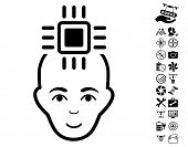 Neural Computer Interface pictograph with bonus airdrone service images. Vector illustration style is flat iconic black symbols on white background. poster