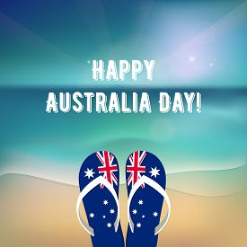 Happy Australia Day - 26 january. National Australia holiday, festival. Independence day. Poster with ocean landscape. Beach with flip-flops. Template for greeting card. Vector illustration