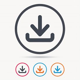 Download icon. Load internet data symbol. Colored circle buttons with flat web icon. Vector