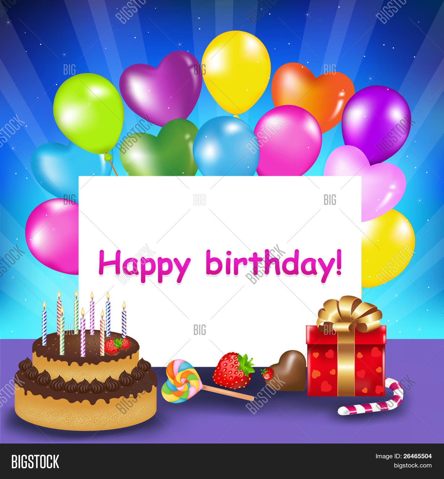 Decoration Ready For Birthday With Cake Candles Balloons Sweets And Gift