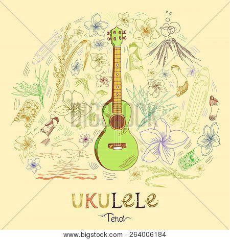 Hawaiian Guitar - Ukulele Tenor In Round Shape Pattern In Engraved Style. Green Ukulele Is In The Ce