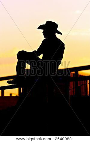 cowboy on the fence at a rodeo, backlit against setting sun