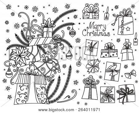 Doodle Set Of Christmas Presents. Hand Drawn Cartoon Gift Boxes In Various Shapes And Pile Of Holida