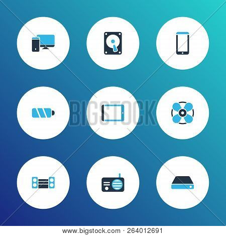 Gadget Icons Colored Set With Hard Drive, Smartphone, Battery And Other Palmtop Elements. Isolated V