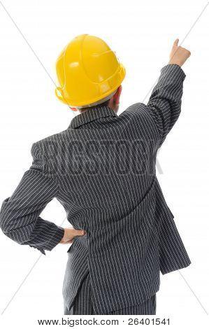 Little smiling builder in helmet