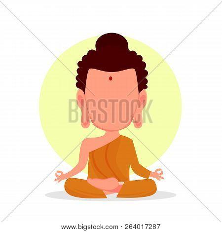 Budha Icon Isolated. Buddha In Cartoon Style. Meditation Concept. Vector Stock.