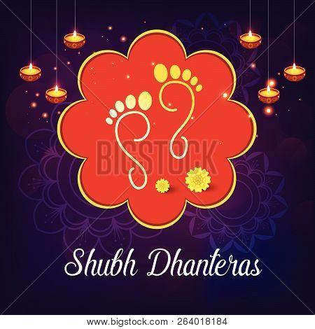 Creative Abstract, Banner Or Poster For Dhanteras With Goddess Maa Lakshmi / Laxmi Charan For Indian
