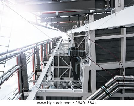 Modern building architectural detail, looking up, perspective effect