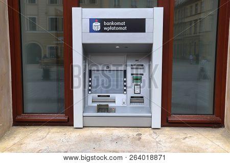 Wroclaw, Poland - May 11, 2018: Pko Bank Polski Cash Machine In Wroclaw, Poland. Pko Bank Polski Is
