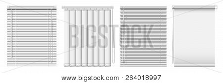 Set Of Horizontal And Vertical Window Blinds. Vector Realistic Illustration Horizontal Blind Curtain