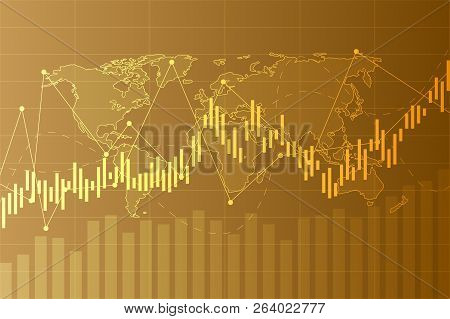 Business Candle Stick Graph Chart Of Stock Market Investment Trading On Background Design. Stock Mar