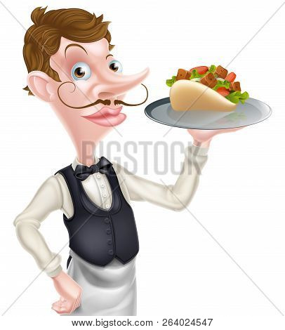 An Illustration Of A Cartoon Waiter Butler