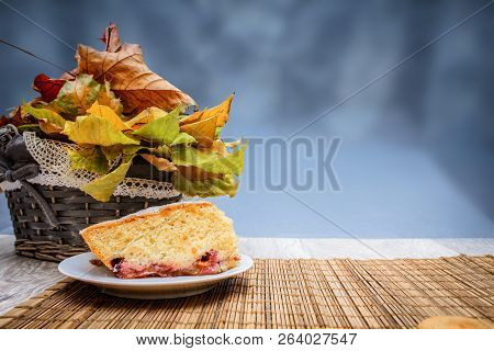 Freshly Baked Biscuit Plum Cake And A Hot Cup Of Tea Plum Sponge Cake Over A Cup Of Hot Tea On A Str