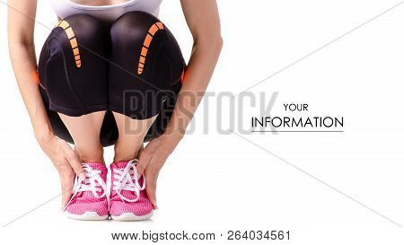 Woman Female Legs Sports Leggings Sneakers Sports Exercises Pattern On A White Background Isolation