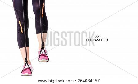 Female Legs Sports Leggings Sneakers Sports Exercises Expander For Legs Pattern On White Background