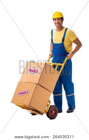 Young contractor with fragile boxes isolated on white poster