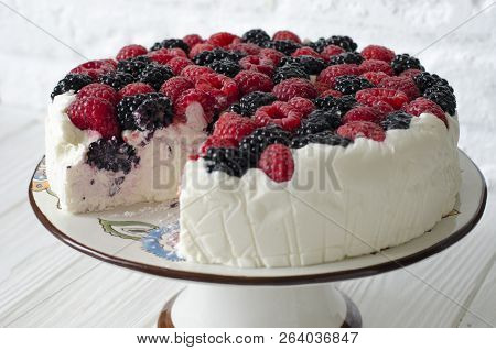 Cheesecake On Agar With Raspberries And Blackberries