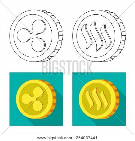 Vector Design Of Cryptocurrency And Coin Sign. Set Of Cryptocurrency And Crypto Vector Icon For Stoc