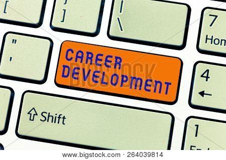 Writing Note Showing Career Development. Business Photo Showcasing Lifelong Learning Improving Skill