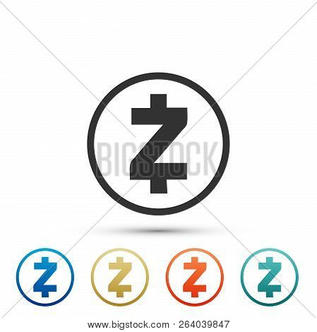 Cryptocurrency Coin Zcash Zec Icon Isolated On White Background. Physical Bit Coin. Digital Currency