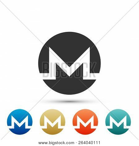 Cryptocurrency Coin Monero Xmr Icon Isolated On White Background. Physical Bit Coin. Digital Currenc